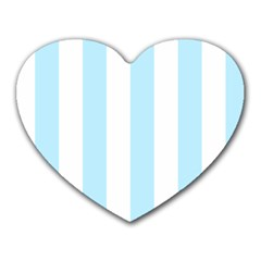 Vertical Stripes - White and Light Blue Heart Mousepad by mirbella