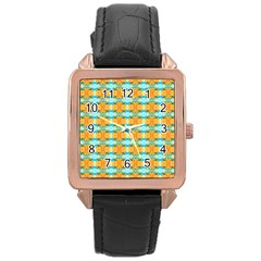 Dragonflies Summer Pattern Rose Gold Leather Watch  by Costasonlineshop