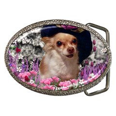 Chi Chi In Flowers, Chihuahua Puppy In Cute Hat Belt Buckles by DianeClancy