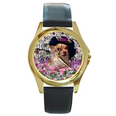 Chi Chi In Flowers, Chihuahua Puppy In Cute Hat Round Gold Metal Watch by DianeClancy