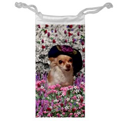 Chi Chi In Flowers, Chihuahua Puppy In Cute Hat Jewelry Bags by DianeClancy