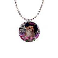 Chi Chi In Flowers, Chihuahua Puppy In Cute Hat Button Necklaces by DianeClancy