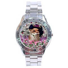 Chi Chi In Flowers, Chihuahua Puppy In Cute Hat Stainless Steel Analogue Watch by DianeClancy