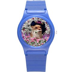 Chi Chi In Flowers, Chihuahua Puppy In Cute Hat Round Plastic Sport Watch (s) by DianeClancy