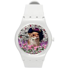 Chi Chi In Flowers, Chihuahua Puppy In Cute Hat Round Plastic Sport Watch (m) by DianeClancy