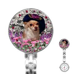 Chi Chi In Flowers, Chihuahua Puppy In Cute Hat Stainless Steel Nurses Watch by DianeClancy