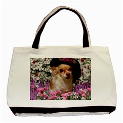 Chi Chi In Flowers, Chihuahua Puppy In Cute Hat Basic Tote Bag (two Sides) by DianeClancy
