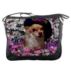 Chi Chi In Flowers, Chihuahua Puppy In Cute Hat Messenger Bags by DianeClancy