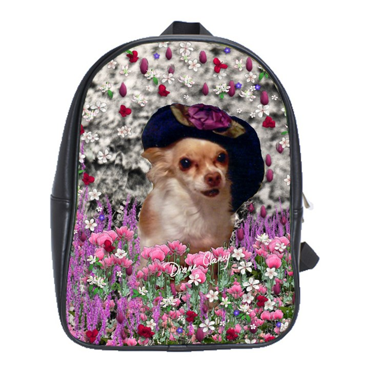 Chi Chi In Flowers, Chihuahua Puppy In Cute Hat School Bags (XL)
