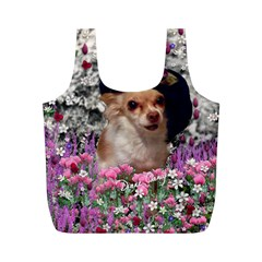 Chi Chi In Flowers, Chihuahua Puppy In Cute Hat Full Print Recycle Bags (m)  by DianeClancy