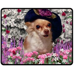 Chi Chi In Flowers, Chihuahua Puppy In Cute Hat Fleece Blanket (medium)  by DianeClancy