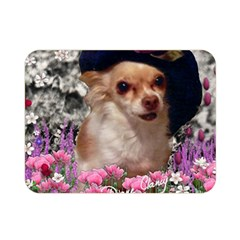Chi Chi In Flowers, Chihuahua Puppy In Cute Hat Double Sided Flano Blanket (mini)  by DianeClancy