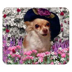 Chi Chi In Flowers, Chihuahua Puppy In Cute Hat Double Sided Flano Blanket (small)