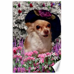 Chi Chi In Flowers, Chihuahua Puppy In Cute Hat Canvas 20  X 30   by DianeClancy