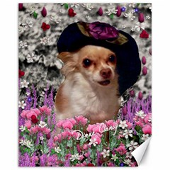 Chi Chi In Flowers, Chihuahua Puppy In Cute Hat Canvas 11  X 14   by DianeClancy