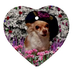 Chi Chi In Flowers, Chihuahua Puppy In Cute Hat Ornament (heart)  by DianeClancy
