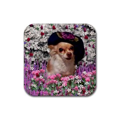 Chi Chi In Flowers, Chihuahua Puppy In Cute Hat Rubber Square Coaster (4 Pack)  by DianeClancy