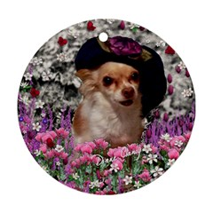 Chi Chi In Flowers, Chihuahua Puppy In Cute Hat Round Ornament (two Sides)  by DianeClancy