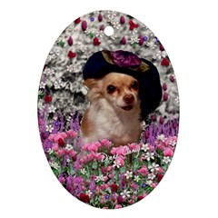 Chi Chi In Flowers, Chihuahua Puppy In Cute Hat Oval Ornament (two Sides) by DianeClancy