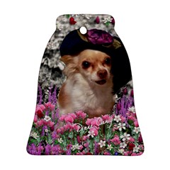 Chi Chi In Flowers, Chihuahua Puppy In Cute Hat Ornament (bell)  by DianeClancy
