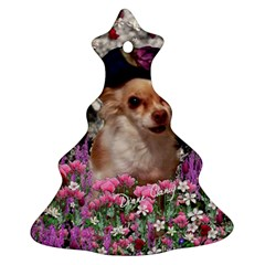 Chi Chi In Flowers, Chihuahua Puppy In Cute Hat Christmas Tree Ornament (2 Sides) by DianeClancy