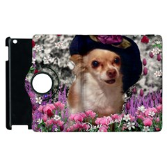 Chi Chi In Flowers, Chihuahua Puppy In Cute Hat Apple Ipad 3/4 Flip 360 Case by DianeClancy