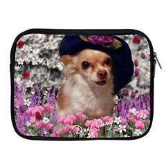 Chi Chi In Flowers, Chihuahua Puppy In Cute Hat Apple Ipad 2/3/4 Zipper Cases by DianeClancy