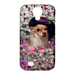 Chi Chi In Flowers, Chihuahua Puppy In Cute Hat Samsung Galaxy S4 Classic Hardshell Case (pc+silicone) by DianeClancy