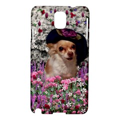 Chi Chi In Flowers, Chihuahua Puppy In Cute Hat Samsung Galaxy Note 3 N9005 Hardshell Case by DianeClancy