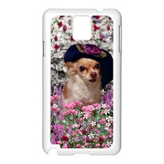 Chi Chi In Flowers, Chihuahua Puppy In Cute Hat Samsung Galaxy Note 3 N9005 Case (white) by DianeClancy