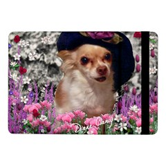 Chi Chi In Flowers, Chihuahua Puppy In Cute Hat Samsung Galaxy Tab Pro 10 1  Flip Case by DianeClancy