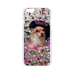 Chi Chi In Flowers, Chihuahua Puppy In Cute Hat Apple Seamless iPhone 6/6S Case (Transparent) by DianeClancy