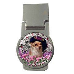 Chi Chi In Flowers, Chihuahua Puppy In Cute Hat Money Clips (round)  by DianeClancy