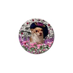 Chi Chi In Flowers, Chihuahua Puppy In Cute Hat Golf Ball Marker by DianeClancy