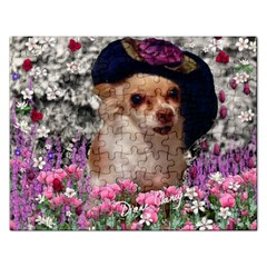 Chi Chi In Flowers, Chihuahua Puppy In Cute Hat Rectangular Jigsaw Puzzl by DianeClancy