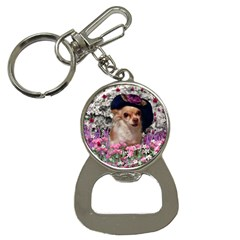 Chi Chi In Flowers, Chihuahua Puppy In Cute Hat Bottle Opener Key Chains by DianeClancy