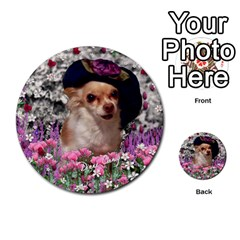 Chi Chi In Flowers, Chihuahua Puppy In Cute Hat Multi Purpose Cards (round)  by DianeClancy