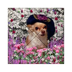 Chi Chi In Flowers, Chihuahua Puppy In Cute Hat Acrylic Tangram Puzzle (6  X 6 ) by DianeClancy