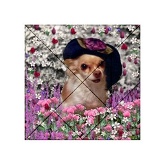 Chi Chi In Flowers, Chihuahua Puppy In Cute Hat Acrylic Tangram Puzzle (4  X 4 ) by DianeClancy