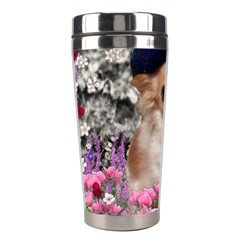 Chi Chi In Flowers, Chihuahua Puppy In Cute Hat Stainless Steel Travel Tumblers by DianeClancy