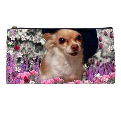 Chi Chi In Flowers, Chihuahua Puppy In Cute Hat Pencil Cases by DianeClancy
