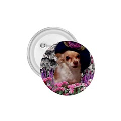 Chi Chi In Flowers, Chihuahua Puppy In Cute Hat 1 75  Buttons by DianeClancy