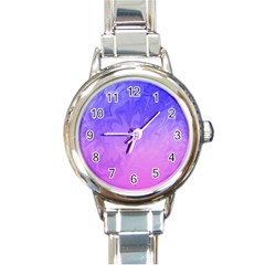 Ombre Purple Pink Round Italian Charm Watch by BrightVibesDesign