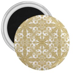 Golden Floral Boho Chic 3  Magnets by dflcprints