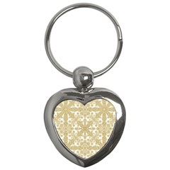 Golden Floral Boho Chic Key Chains (heart)  by dflcprints