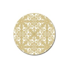 Golden Floral Boho Chic Magnet 3  (round) by dflcprints