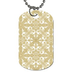 Golden Floral Boho Chic Dog Tag (one Side) by dflcprints