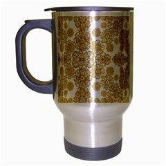 Golden Floral Boho Chic Travel Mug (silver Gray) by dflcprints