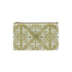 Golden Floral Boho Chic Cosmetic Bag (small)  by dflcprints