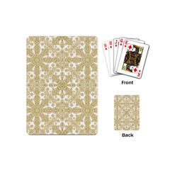Golden Floral Boho Chic Playing Cards (mini)  by dflcprints
